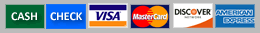 TNT accepts cash, check, visa, mastercard, discover and american express